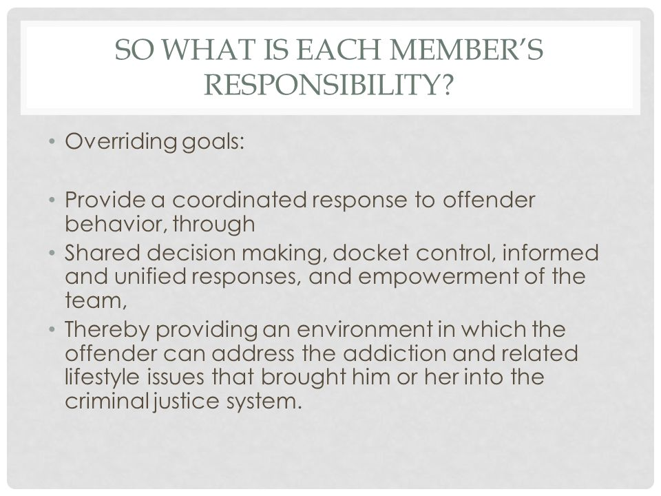 SO WHAT IS EACH MEMBER'S RESPONSIBILITY? Overriding goals: Provide a coordinated response to offender behavior, through Shared decision making, docket