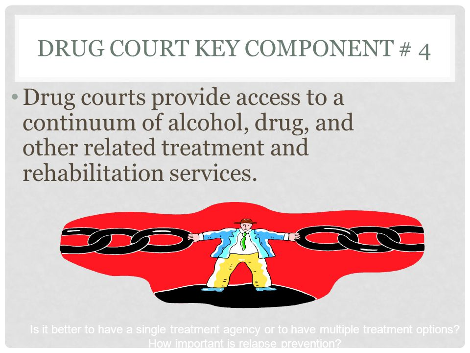 DRUG COURT KEY COMPONENT # 4 Drug courts provide access to a continuum of alcohol, drug, and other related treatment and rehabilitation services. Is i
