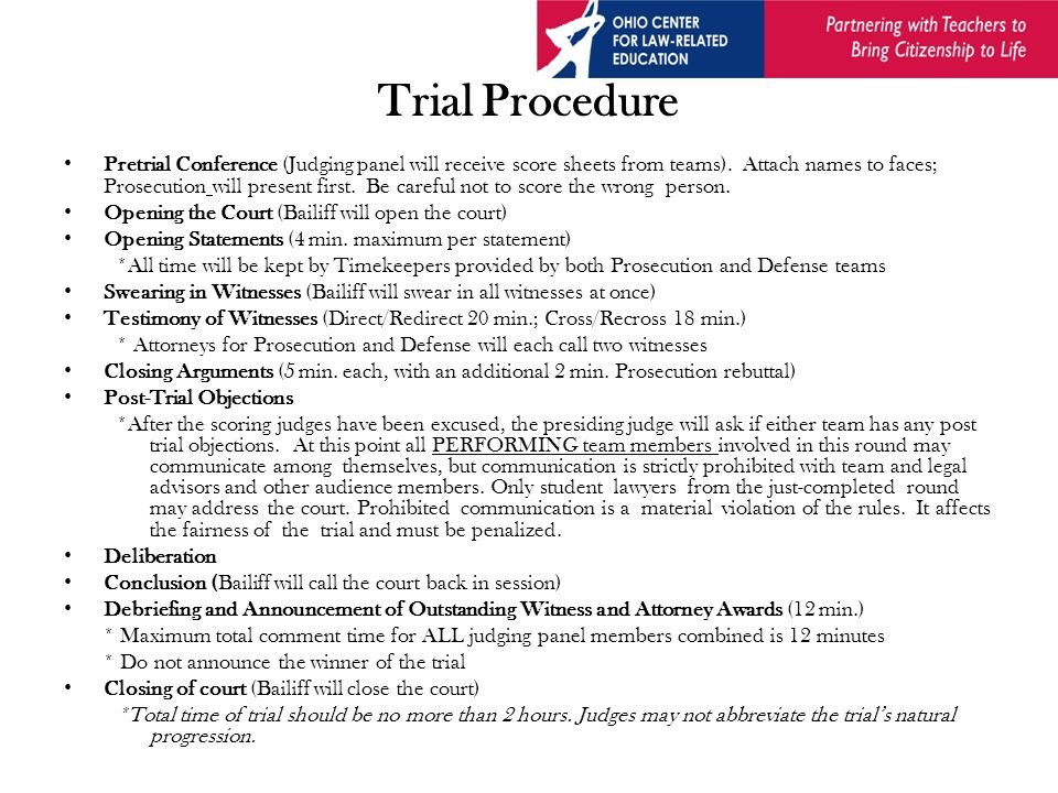 How to Preside Deal with pre-trial matters.