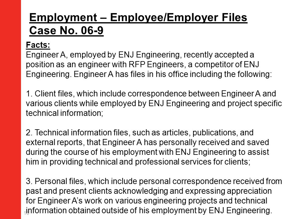 16 Employment – Employee/Employer Files Case No.