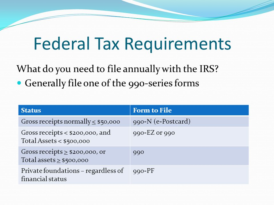 Federal Tax Requirements What do you need to file annually with the IRS? Generally file one of the 990-series forms StatusForm to File Gross receipts