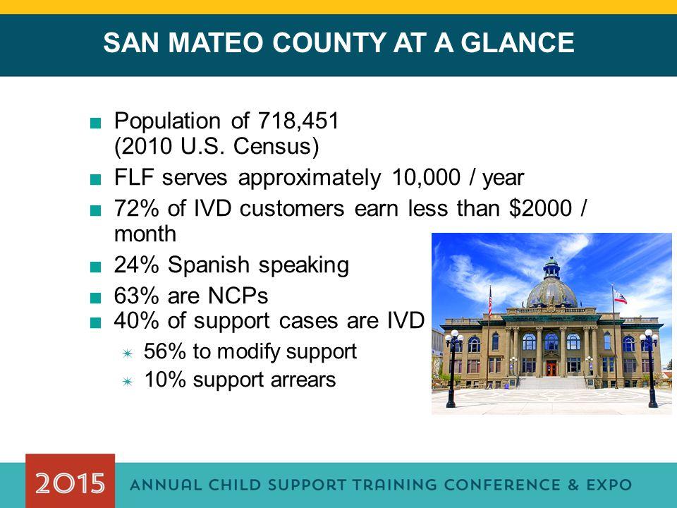 SAN MATEO COUNTY AT A GLANCE ■Population of 718,451 (2010 U.S.