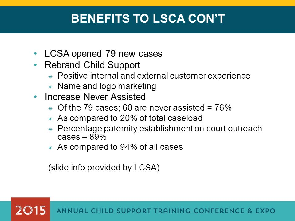BENEFITS TO LSCA CON'T LCSA opened 79 new cases Rebrand Child Support ✷ Positive internal and external customer experience ✷ Name and logo marketing Increase Never Assisted ✷ Of the 79 cases; 60 are never assisted = 76% ✷ As compared to 20% of total caseload ✷ Percentage paternity establishment on court outreach cases – 89% ✷ As compared to 94% of all cases (slide info provided by LCSA)