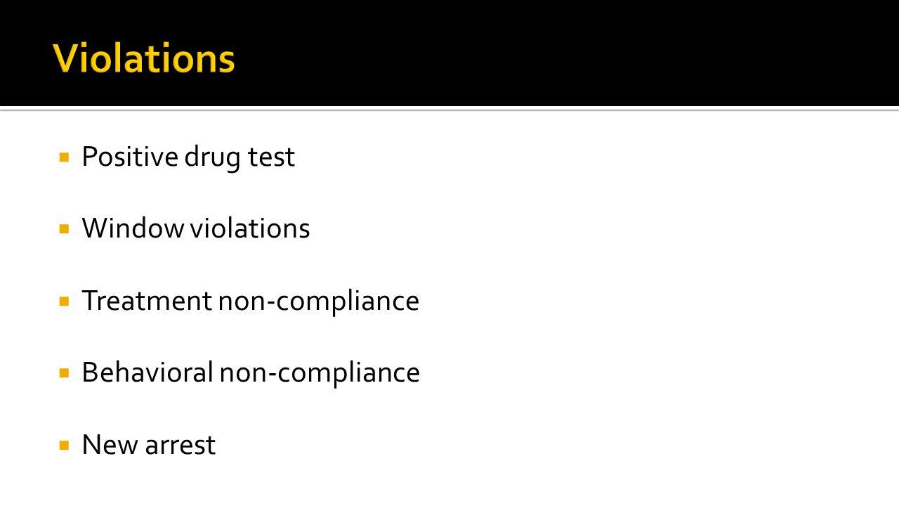 Positive drug test  Window violations  Treatment non-compliance  Behavioral non-compliance  New arrest