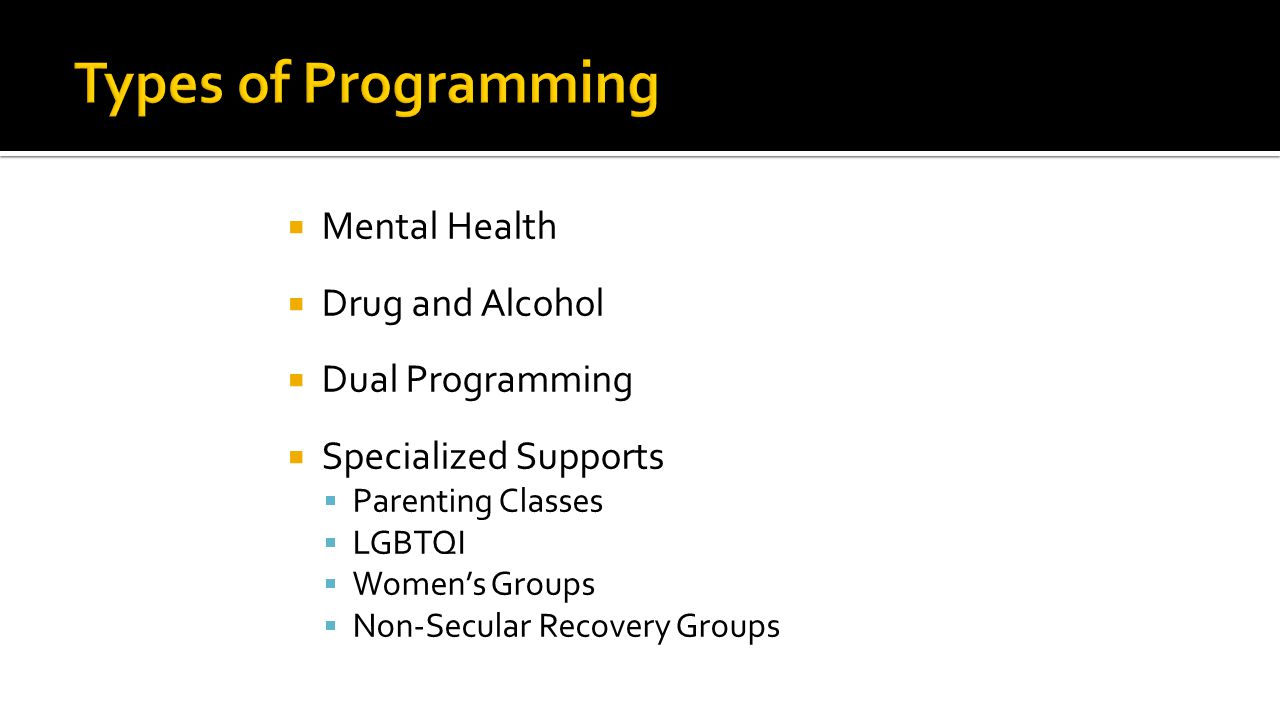  Mental Health  Drug and Alcohol  Dual Programming  Specialized Supports  Parenting Classes  LGBTQI  Women's Groups  Non-Secular Recovery Groups
