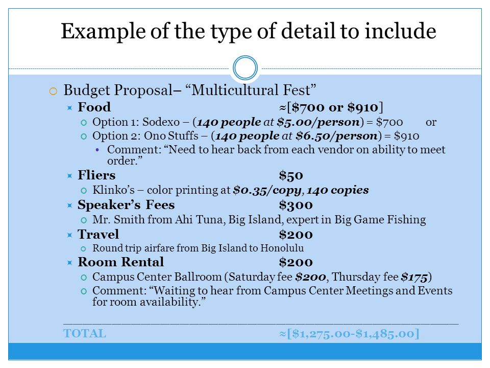 Example of the type of detail to include  Budget Proposal– Multicultural Fest  Food≈[$700 or $910] Option 1: Sodexo – (140 people at $5.00/person) = $700or Option 2: Ono Stuffs – (140 people at $6.50/person) = $910 Comment: Need to hear back from each vendor on ability to meet order.  Fliers$50 Klinko's – color printing at $0.35/copy, 140 copies  Speaker's Fees$300 Mr.