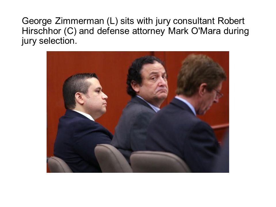 George Zimmerman (L) sits with jury consultant Robert Hirschhor (C) and defense attorney Mark O Mara during jury selection.