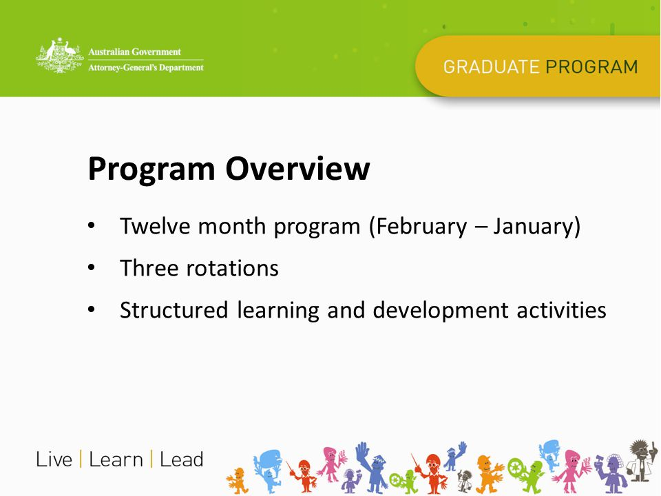 Background Corporately run program since 2002 Commence planning 18 months' in advance Feedback is used to improve each program and to ensure the program is meeting the needs of all involved