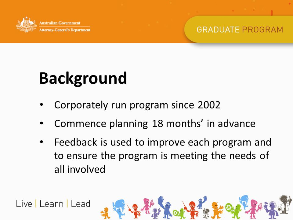 Background Corporately run program since 2002 Commence planning 18 months' in advance Feedback is used to improve each program and to ensure the progr