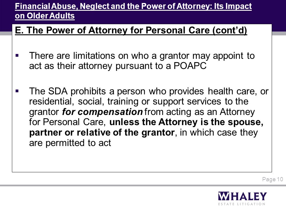 Financial Abuse, Neglect and the Power of Attorney: Its Impact on Older Adults E.