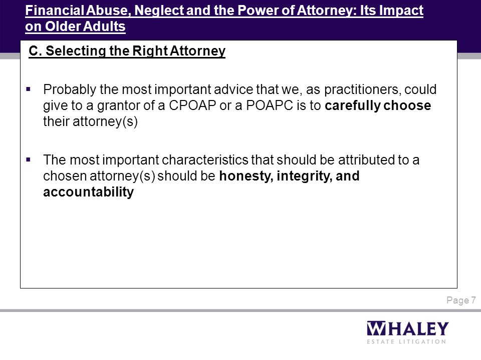 Financial Abuse, Neglect and the Power of Attorney: Its Impact on Older Adults C.
