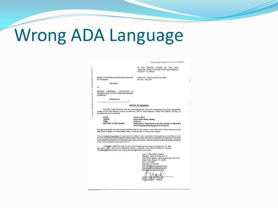 Wrong ADA Language