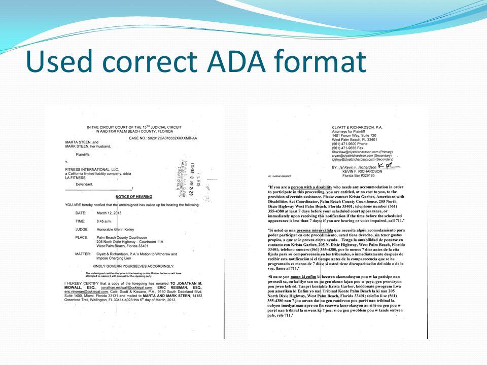 Used correct ADA format