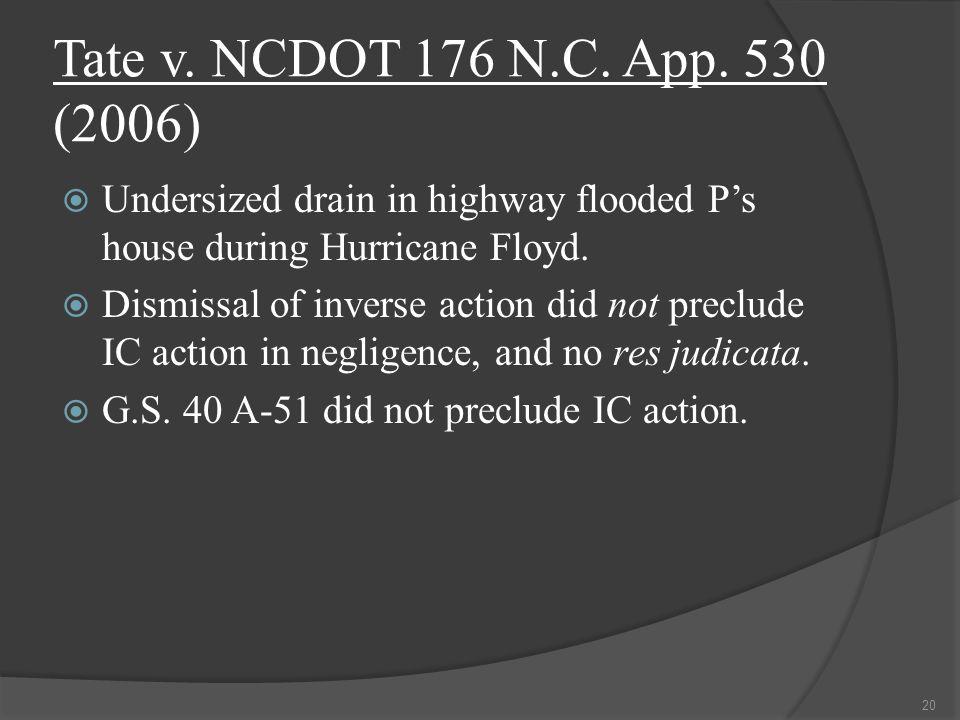 Tate v. NCDOT 176 N.C. App.