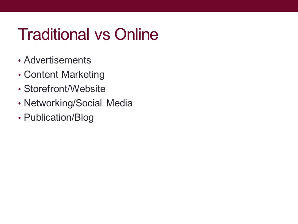 Traditional vs Online Advertisements Content Marketing Storefront/Website Networking/Social Media Publication/Blog