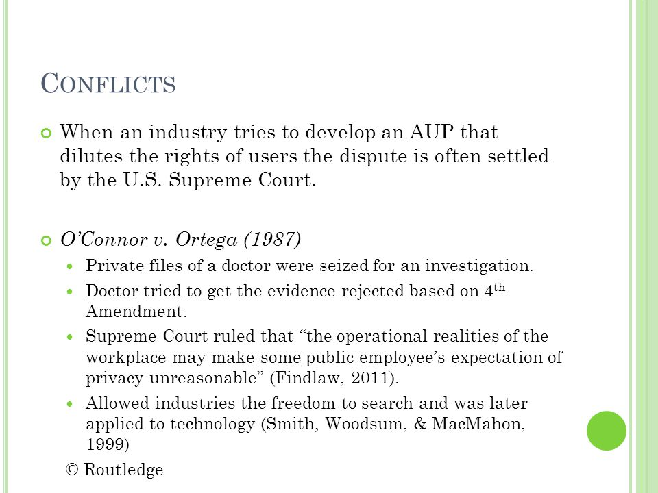 C ONFLICTS When an industry tries to develop an AUP that dilutes the rights of users the dispute is often settled by the U.S.