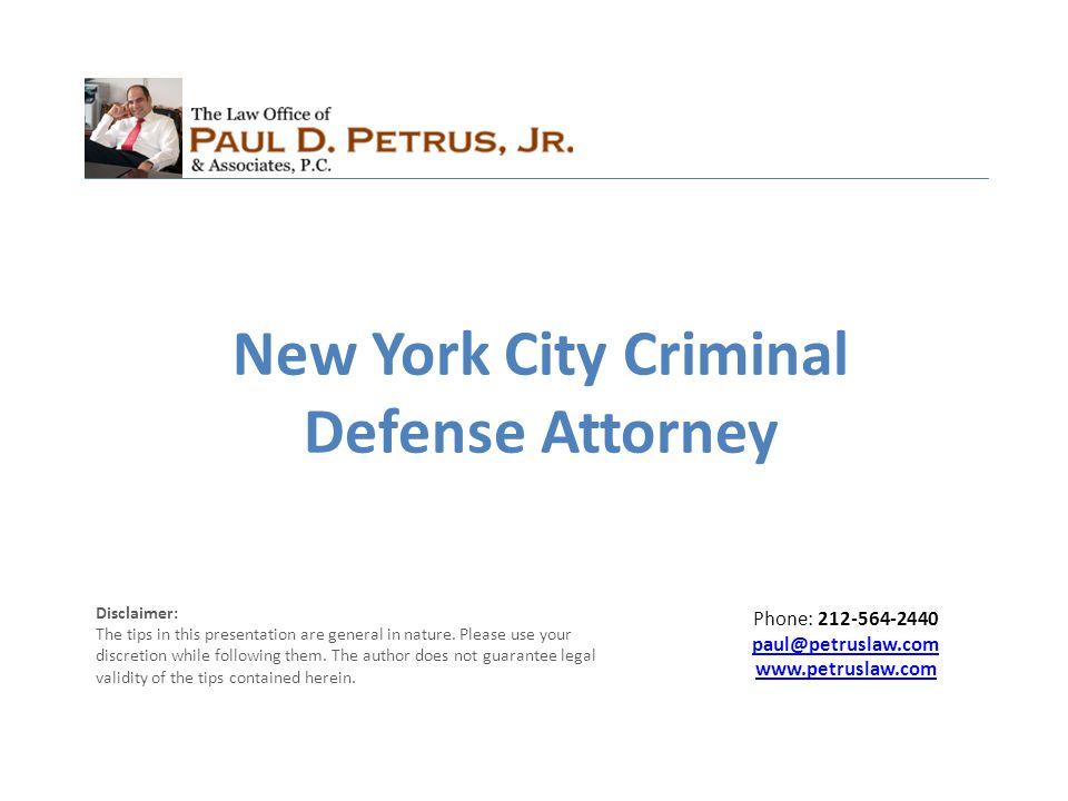 Paul D.Petrus Jr. & Associates, P.C. New York criminal defense attorney, Paul D.