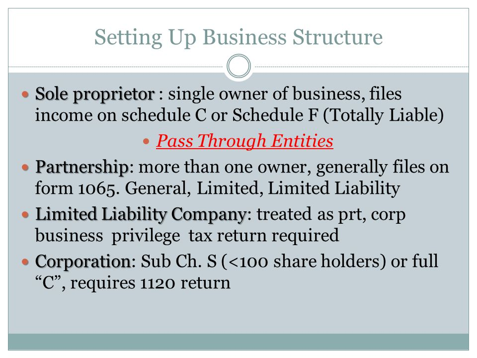 Setting Up Business Structure Sole proprietor Sole proprietor : single owner of business, files income on schedule C or Schedule F (Totally Liable) Pa