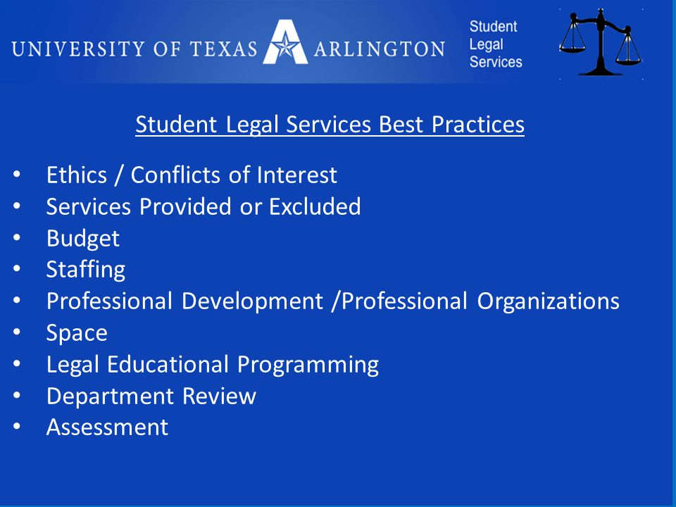 Student Legal Services Best Practices Ethics / Conflicts of Interest Services Provided or Excluded Budget Staffing Professional Development /Professional Organizations Space Legal Educational Programming Department Review Assessment