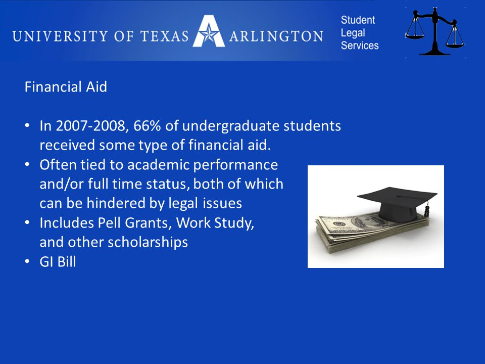 Financial Aid In 2007-2008, 66% of undergraduate students received some type of financial aid.