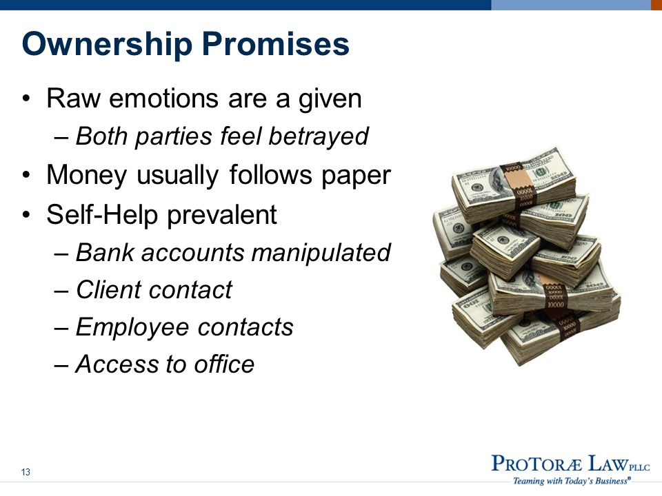 Ownership Promises Raw emotions are a given –Both parties feel betrayed Money usually follows paper Self-Help prevalent –Bank accounts manipulated –Client contact –Employee contacts –Access to office 13