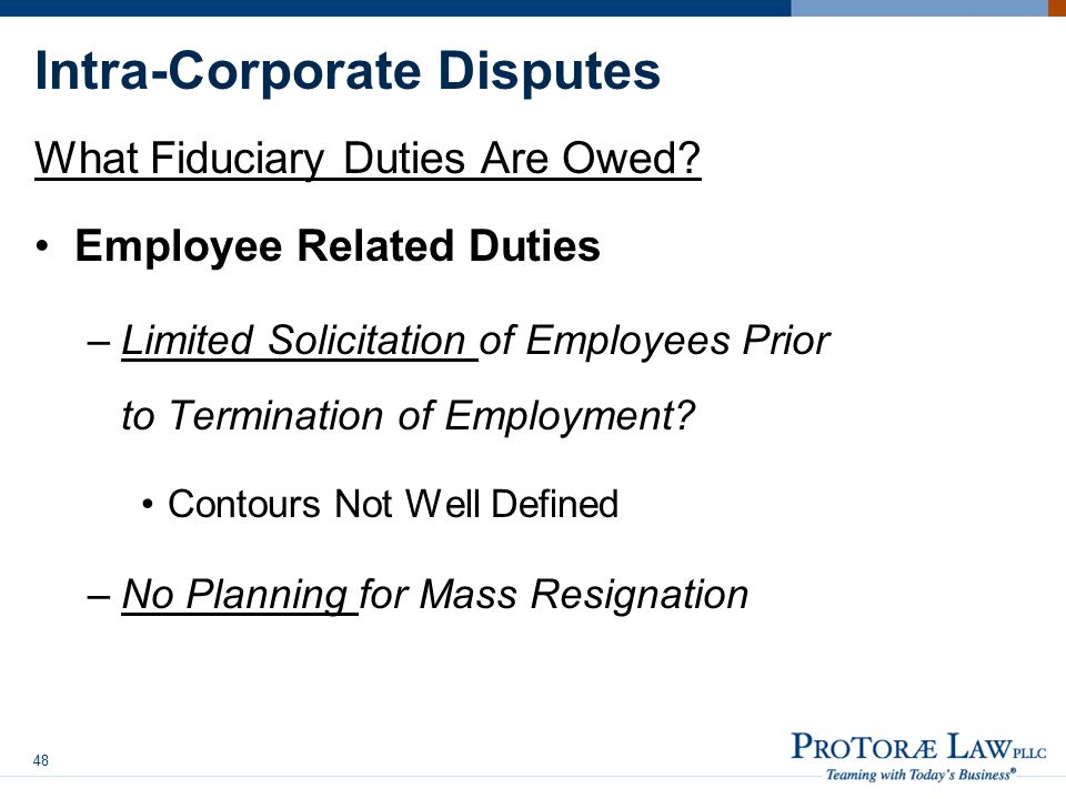 Intra-Corporate Disputes What Fiduciary Duties Are Owed.