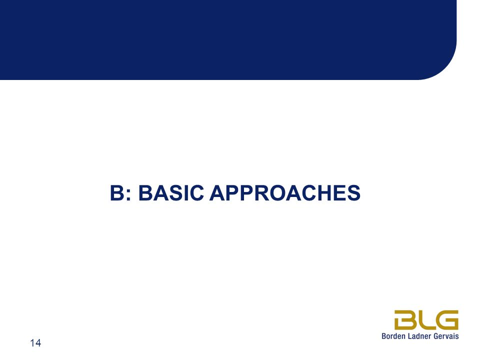 B: BASIC APPROACHES 14