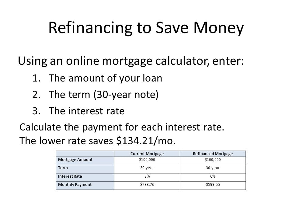 Refinancing to Save Money Using an online mortgage calculator, enter: 1.The amount of your loan 2.The term (30-year note) 3.The interest rate Calculate the payment for each interest rate.