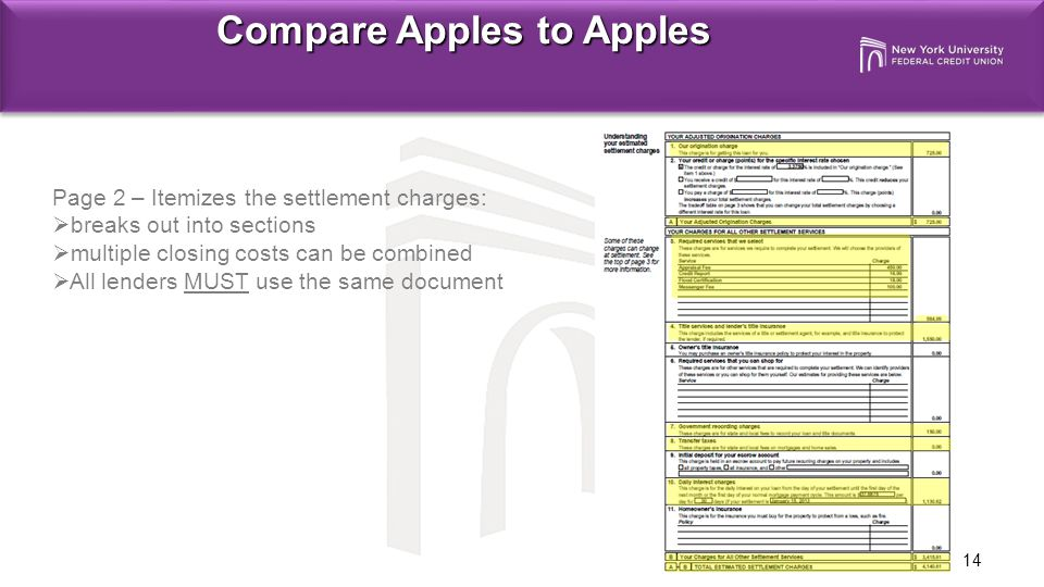 14 Compare Apples to Apples Page 2 – Itemizes the settlement charges:  breaks out into sections  multiple closing costs can be combined  All lenders MUST use the same document