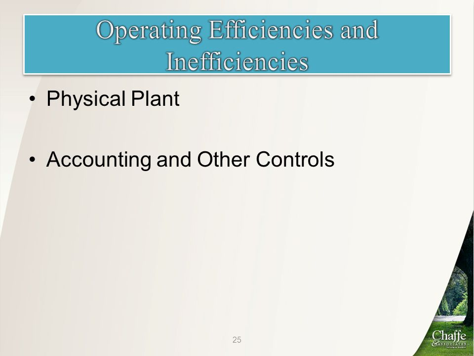 Physical Plant Accounting and Other Controls 25