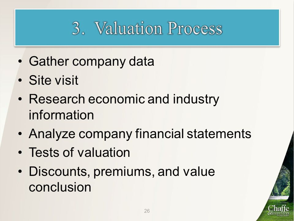 Gather company data Site visit Research economic and industry information Analyze company financial statements Tests of valuation Discounts, premiums, and value conclusion 26