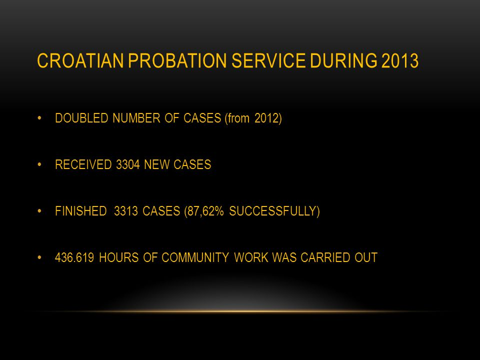 CROATIAN PROBATION SERVICE DURING 2013 DOUBLED NUMBER OF CASES (from 2012) RECEIVED 3304 NEW CASES FINISHED 3313 CASES (87,62% SUCCESSFULLY) 436.619 HOURS OF COMMUNITY WORK WAS CARRIED OUT