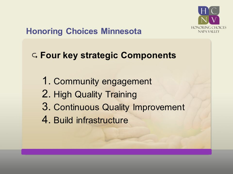 Honoring Choices Minnesota  Four key strategic Components 1. Community engagement 2. High Quality Training 3. Continuous Quality Improvement 4. Build