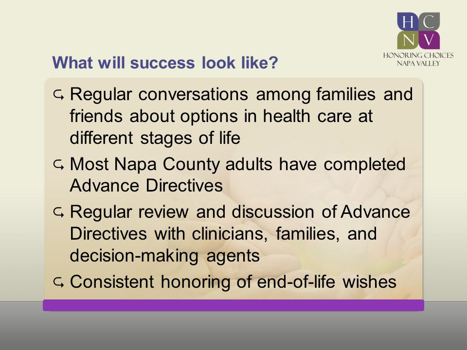 What will success look like?  Regular conversations among families and friends about options in health care at different stages of life  Most Napa C