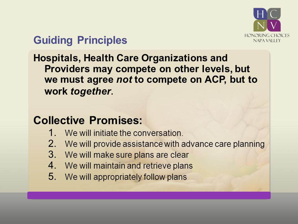 Guiding Principles Hospitals, Health Care Organizations and Providers may compete on other levels, but we must agree not to compete on ACP, but to wor