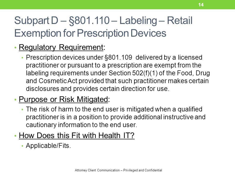 Attorney Client Communication – Privileged and Confidential Subpart D – §801.110 – Labeling – Retail Exemption for Prescription Devices Regulatory Req