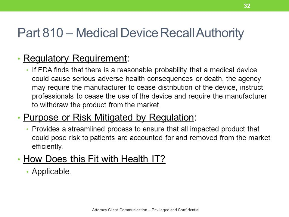 Attorney Client Communication – Privileged and Confidential Part 810 – Medical Device Recall Authority Regulatory Requirement: If FDA finds that there