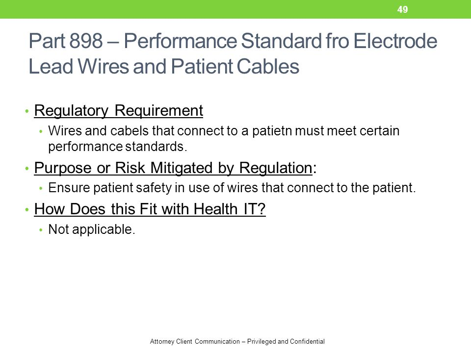 Attorney Client Communication – Privileged and Confidential Part 898 – Performance Standard fro Electrode Lead Wires and Patient Cables Regulatory Req