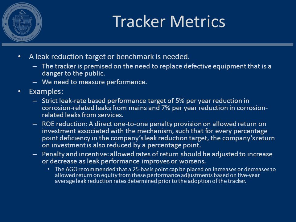 Tracker Metrics A leak reduction target or benchmark is needed.