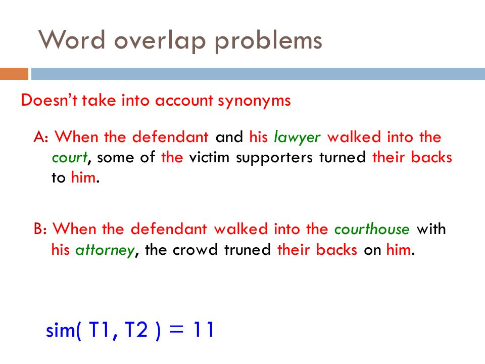 Word overlap problems Doesn't take into account synonyms A: When the defendant and his lawyer walked into the court, some of the victim supporters tur