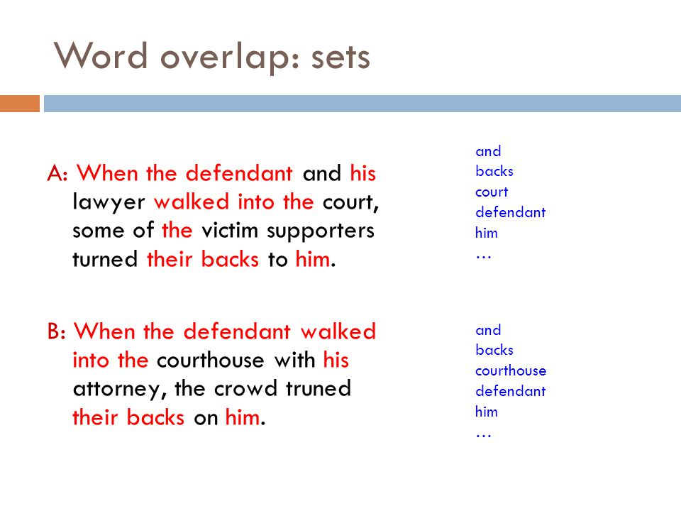 Word overlap: sets A: When the defendant and his lawyer walked into the court, some of the victim supporters turned their backs to him. B: When the de