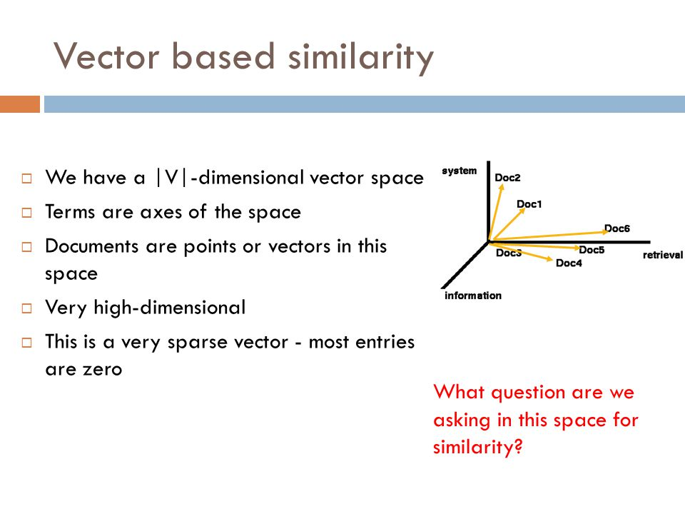 Vector based similarity  We have a |V|-dimensional vector space  Terms are axes of the space  Documents are points or vectors in this space  Very
