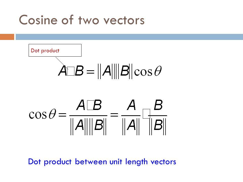 Cosine of two vectors Dot product Dot product between unit length vectors