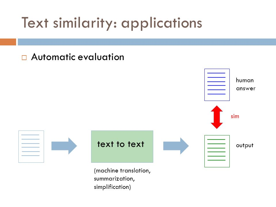 Text similarity: applications  Automatic evaluation text to text (machine translation, summarization, simplification) output human answer sim
