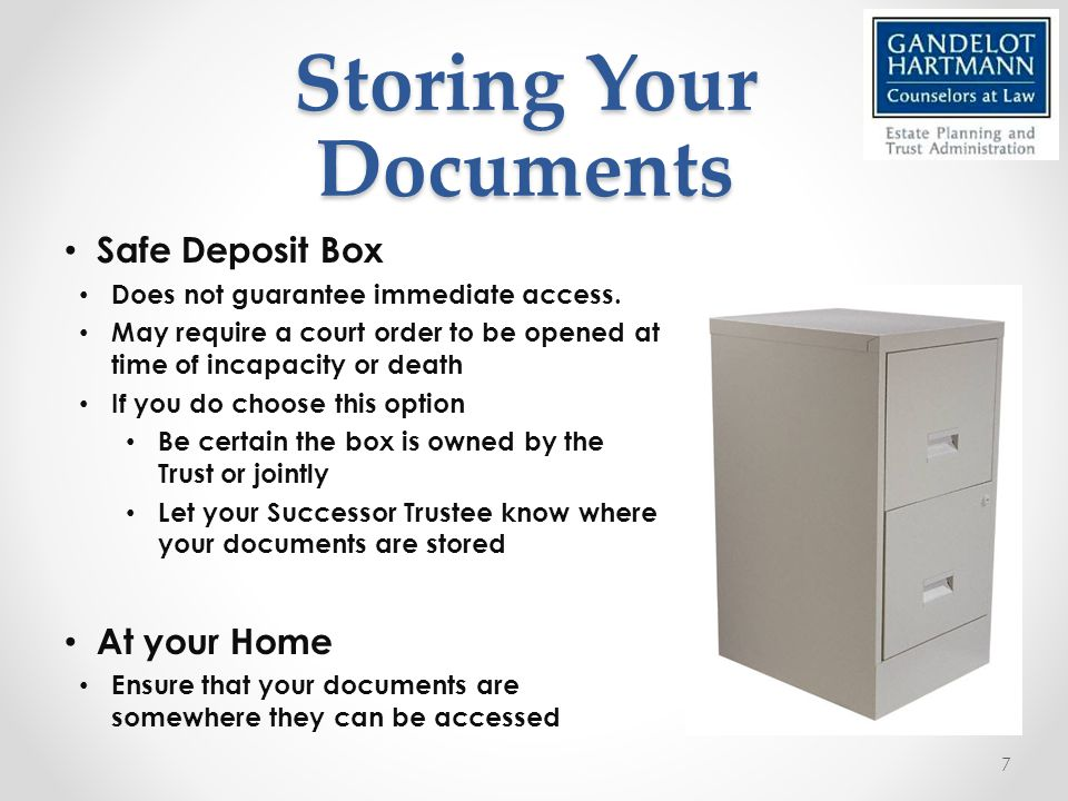 Safe Deposit Box Does not guarantee immediate access.