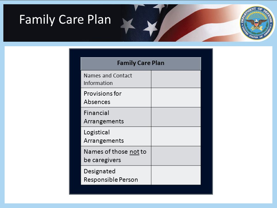 Family Care Plan Names and Contact Information Provisions for Absences Financial Arrangements Logistical Arrangements Names of those not to be caregivers Designated Responsible Person