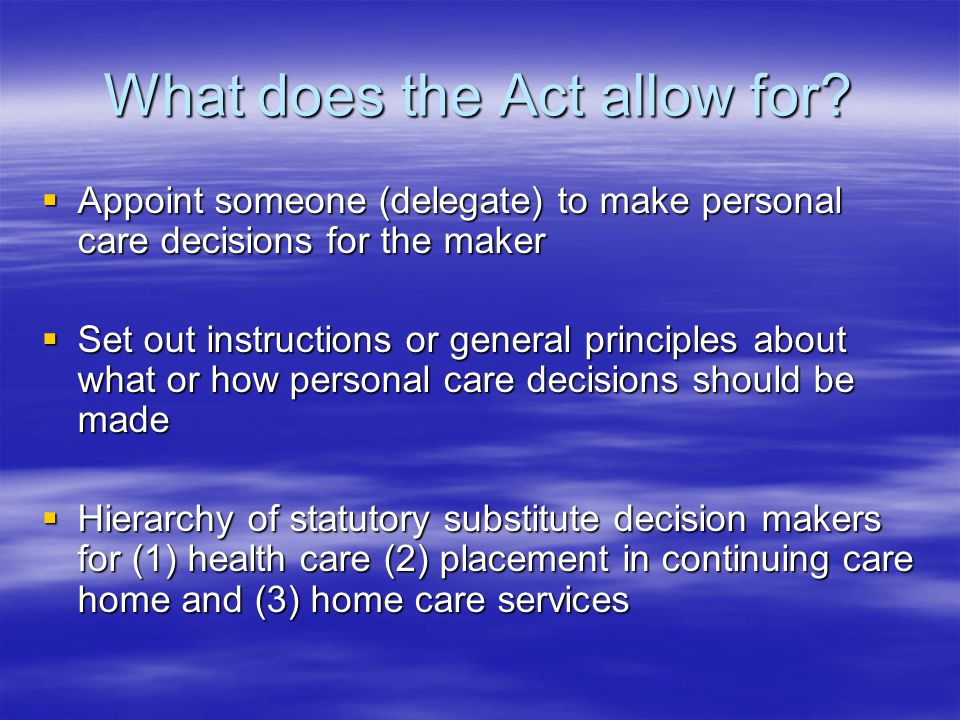 What does the Act allow for.