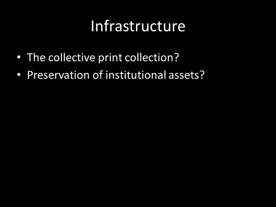 Infrastructure The collective print collection Preservation of institutional assets