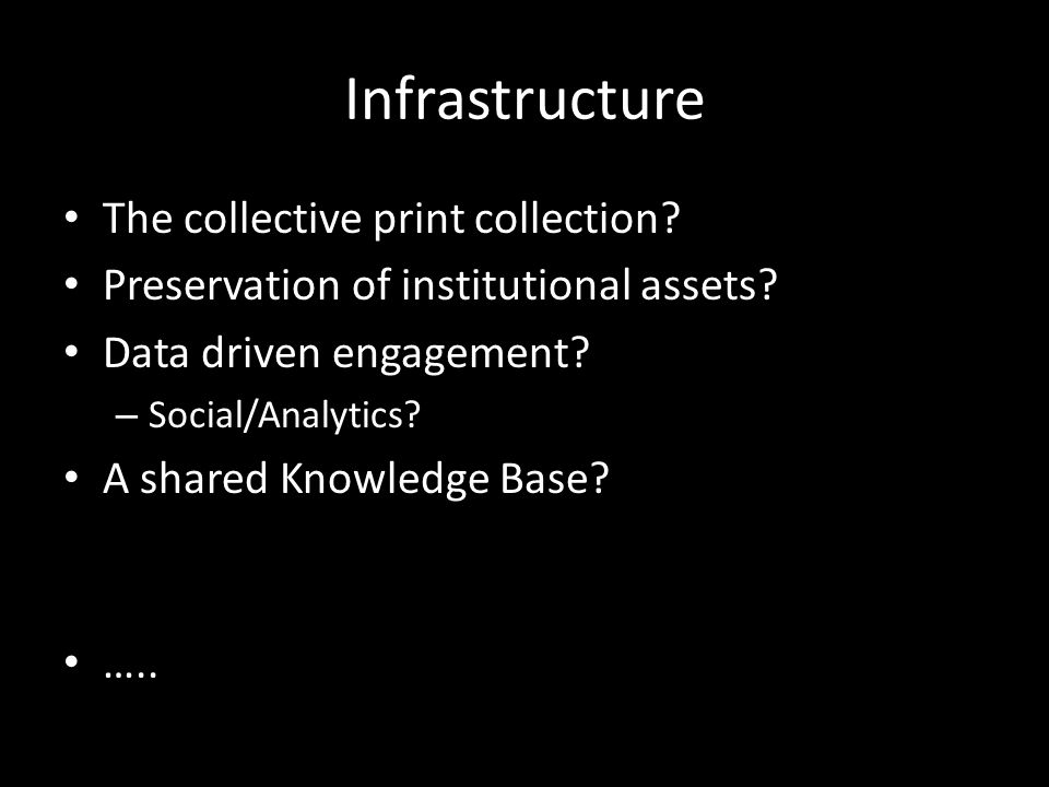 Infrastructure The collective print collection. Preservation of institutional assets.