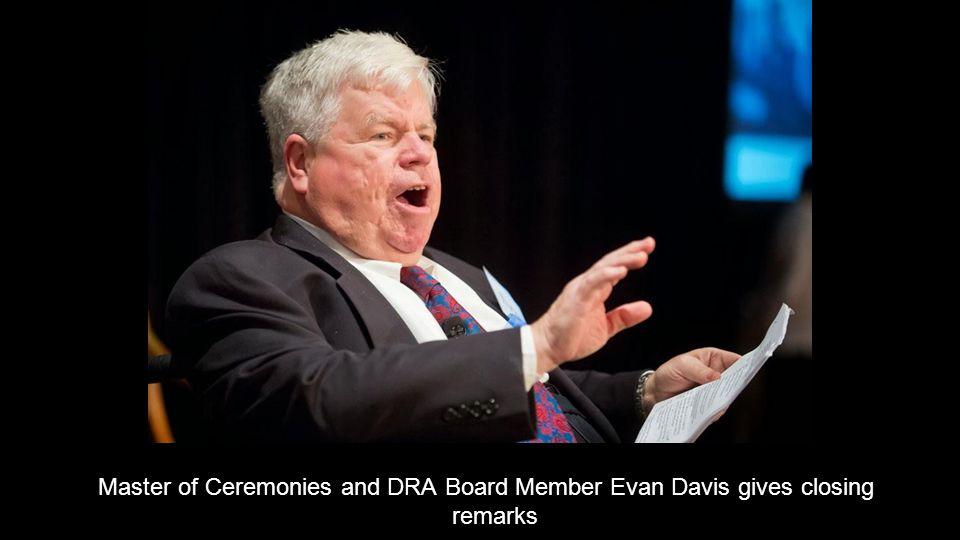 Master of Ceremonies and DRA Board Member Evan Davis gives closing remarks